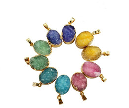 Druzy Crystals Australia - 2019 Hot Sale DIY Jewelry Natural Gemstone Crystal Druzy Oval Charms Bohemian Pendant Necklace Gold Plated