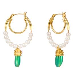 $enCountryForm.capitalKeyWord NZ - Earrings European Turquoise Earrings Drop Pendant Green Coral Stone Baroque Pearl Earrings Elegant Pearl Bead Pendant Ear Hooks Wholesale