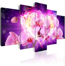 Canvas Pictures Flowers Australia - ( No Frame)5PCS Set Modern Flower Love Orchid Art Print Frameless Canvas Painting Wall Picture Home Decoration