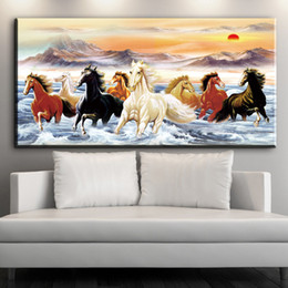 $enCountryForm.capitalKeyWord Australia - 1 Piece Creative Eight Running Horse Canvas Painting HD Prints on Canvas Poster Wall Art Picture Living Room Home Decor No Framed