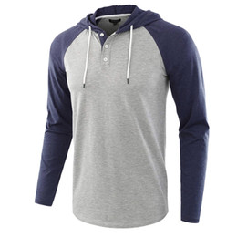 Wholesale mens hooded t shirts online – design Mens T Shirts Hooded Stitching Sleeves Long Sleeve T shirt Fashion Washed Tee Retro Loose Fashion Casual
