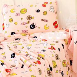 Cartoon Plush Pillows Australia - 1pc soft cartoon pink Sailor Moon Luna pillow case cover plush flannel blanket lady romantic gift bed girl toy