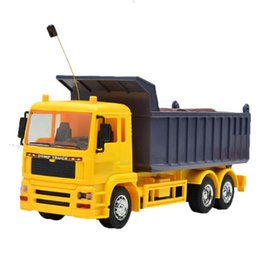 Wholesale Engineering Vehicle Rechargeable Dump Truck Model Toys with Music Light Children Remote Control Toy Kids Boys Birthday Gift