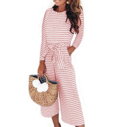 Wholesale Elegant Sexy Jumpsuits Women Long Sleeve Striped Jumpsuit Loose Trousers Wide Leg Pants Rompers Holiday Belted Leotard Overalls