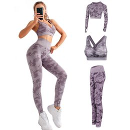 women working out yoga pants Canada - 3 Pieces Women Yoga Set Gym Fitness Clothing Seamless Work Out Clothing Sport Exercise Woman Runnig Outfit T Shirt Bar Pants T200406