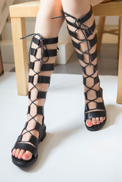 sandal knee 2019 - Wholesale-Gladiator Sandals Woman knee high sandalias botas femininas summer Sexy Cross-tied Lace up Women Boots Sandal