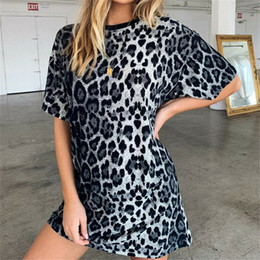 Discount summer loose top girls - Summer New Women Leopard Print Loose Dress Ladies Crew Neck Casual Girl Long Tops Dress Female Fashion Mini Vestidos