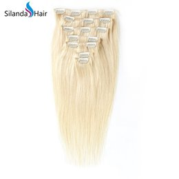 Clip Human Hair Extensions Remy 24 UK - Silanda Hair Real Remy Hair Extension Clip In Human Hair Extensions #613 Blonde Straight 7 pcs pack