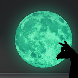 Glow Art For Kids Australia - 30cm Luminous DIY 3D Moon Earth Wall Stickers for Kids Rooms Decor 2019 New Glow In The Dark Wall Decor Room Decoration