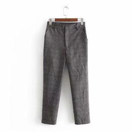 Two Piece Casual Pants Sets Woman Australia - 2019 Women Lapel Two Piece Set Fashion Blazer Harem Pants Plaid Casual Blazers Suits Spring Summer Loose Outfits