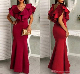 White Maxi Prom Dresses Australia - Sexy Dark Red Mermaid Prom Dresses 2019 V-Neck Cap Sleeves Maxi Long Arabic Formal Evening Party Gowns Cheap Customized Robes