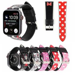 Venta al por mayor de Para las bandas de la correa del reloj de Apple Polka Dot de cuero real genuino Correas de moda banda 38 / 42mm 40 / 44mm pulseras