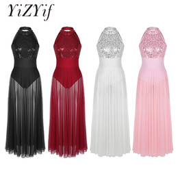 Wholesale dresses building resale online – YiZYiF Sequined Mesh Maxi Ballet Dress Women Dance Costumes Adult Sleeveless Halter Ballet Dance Dress with Built in Leotard