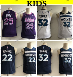 70fe3beb4fe 2019 Kids  32 Minnesota Karl-Anthony Towns Andrew Wiggins Timberwolves  Edition Basketball Jersey City Derrick Rose Youth Boys Stitched Shirt