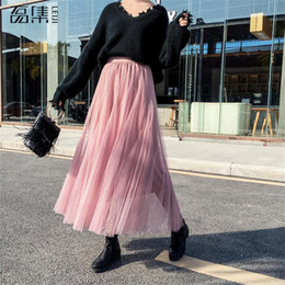 3504dac462 2019 Spring Fashion Womens Tulle Skirt Casual Princess Fairy Style 3 Layers  Plus Size Long Skirt Tutu Skirts pink black