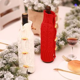 $enCountryForm.capitalKeyWord NZ - Merry Christmas Knitted Wine Bottle Set Sweater Cover Champagne Xmas Decoration for Home Dinner Party Bar New Year Table Decor