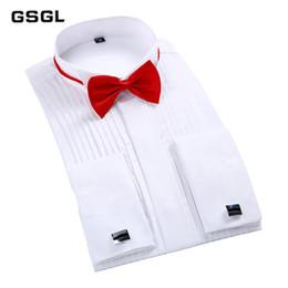 $enCountryForm.capitalKeyWord Australia - Fashion France Cuff Tuxedo Shirts slim Fit Long sleeve Bridegroom Wedding party men dress shirt with Bow Tie