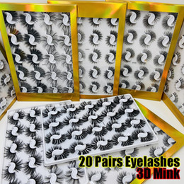 Wholesale 20 Pairs Boxed 25mm Mixed Styles 3D Mink False Eyelashes Natural Long Lashes Handmade Wispies Bushy Fluffy Sexy Eye Makeup Tools