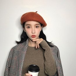 f9784e49453 Hot Sell Pure Wool BERET female winter JWarm French Beret Hat Beanie Pure  Color Sweet Cap small fresh female all-match Korean winter tide
