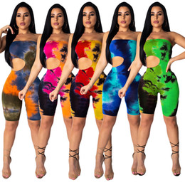 $enCountryForm.capitalKeyWord Canada - Women Strapless Shorts Jumpsuit Rompers One Piece Overalls Plus size Hollow out Coloful Jumpsuit Bodycon Summer Clothes S-2XL