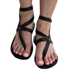 $enCountryForm.capitalKeyWord NZ - Summer Flat Sandals Women 2019 Clip Toe Gladiator Sandals Women Cross Strap Sandalias Mujer Beach Shoes#G4