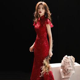 aa7442ed2a4 Burgundy Wedding Qipao Long Cheongsam Modern Chinese Traditional Dress Sexy Cheongsam  Dress Robe Chinoise Vestido Oriental Prom