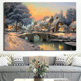 $enCountryForm.capitalKeyWord Australia - Thomas Kinkade Bridge Christmas Tree Canvas Prints Picture Modular Paintings for Living Room Poster on The Wall Home Decoration