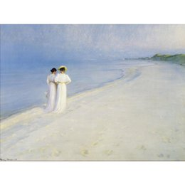 Hand Painting Beach Australia - Hand painted oil paintings Peder Severin Kroyer Summer Afternoon on Skagen Beach canvas artwork for home decor