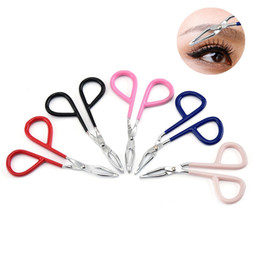New Stainless Steel Eyebrow Tweezers Elbow Eyebrow Pliers Tweezers Colorful Hair Removal Clip Beauty Makeup Tools HHA1380 on Sale