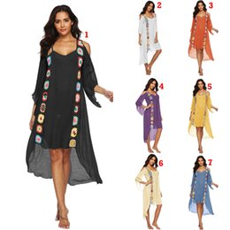 Wholesale Hand Crochet Cover Ups Colors Beach Smock Summer Casual Dresses Off Shoulder Irregular Dresses Blouses Tops OOA6986
