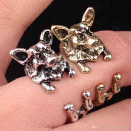 $enCountryForm.capitalKeyWord NZ - New Fashion Vintage antique Hippie Chic Dog open size Ring Cute Animal Ring factory price Charm Jewelry Wholesale