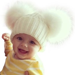 White Black Hats For Kids Australia - Winter Beanie Knit Hats Fashion Fur Kids Warm Raccoon Beanies Wool Hat Pompom Ball Cute Caps For Baby Q190521