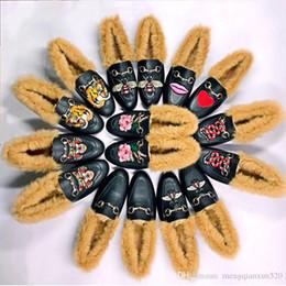 $enCountryForm.capitalKeyWord Australia - Men shoes women rabbit hair warm shoes autumn and winter Real leather luxury lazy shoes.Designer Metal buckle hair single shoes Size 35-46