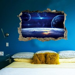 $enCountryForm.capitalKeyWord Australia - 2017 New 3D Planets Broken Wall Mural Space Landscape Wall Decorative Sticker Decal for Living Room Kids Room Home Decoration