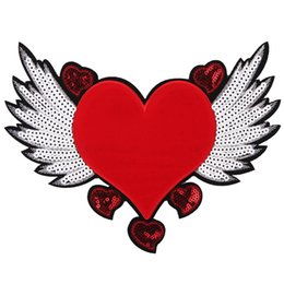 $enCountryForm.capitalKeyWord Australia - big red heart patches for clothes DIY sequins embroideery appliques for clothes with glue back iron on or sew on T-shirt leisurewear jeans
