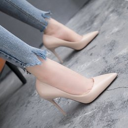 Korean nude shoes online shopping - Women s Shoes Korean Shallow Mouth Patent Leather Single Shoes Sexy Thin Heels Nude Color High Heels Simple Elegant Party Pumps