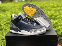 $enCountryForm.capitalKeyWord NZ - Best Quality 3 Michigan PE College Navy Amarillo Cement Grey Fashion Basketball Shoes New Custom III Midnight Navy Designer Sneakers Box