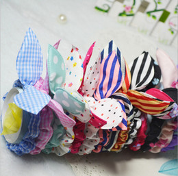 Kids cute ribbon hair band online shopping - Cute candy color hair ring baby girl bow knot dot elastic hair bands boutique kids girl hair accessories