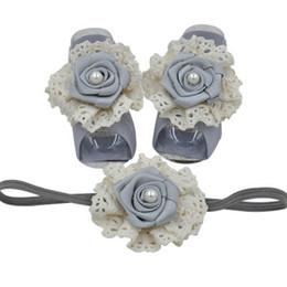 $enCountryForm.capitalKeyWord UK - Rose flower newborn foot baby headbands 3pcs set girls designer headband infant designer headbands baby accessories lace kids headband A5784