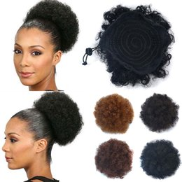 Drawstring ponytail hair extensions online shopping - Synthetic Curly Hair Ponytail African American Short Afro Kinky Curly Wrap Synthetic Drawstring Puff Pony tail Hair Extensions