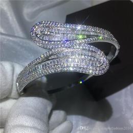 Sterling Silver Diamond Bangle Bracelet NZ - Fashion Diamond T stone Baguette bracelet Big shinning bangle S925 Silver Filled womens accessaries