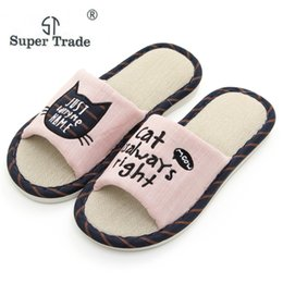f003d4a139808b 2019 Summer Linen Women Men Slippers Cute Cats Flax Home Slippers For  Couples Indoor Floor Open Toe Non-slip Flat Shoes