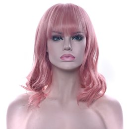 Red Green Fiber Australia - Short Curly Synthetic Hair Pink Wigs High Temperature Fiber Black Brown Red Hairpiece Cosplay Wig For Women 10 Colors