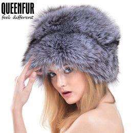 5b8c92eb QUEENFUR Winter Women Fur Cap Real Fox Fur Hats Headgear Russian Outdoor  Girls Raccoon Beanies Cap 2017 New Fashion Hat