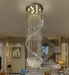 Spiral hallway chandelier online shopping - Modern Crystal Chandelier Modern LED Spiral Sphere Rain Drop K9 Ceiling Light Fixture for Staircase Stair Lamp Living Room Hotel Hallway