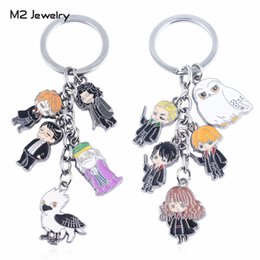 crystal owl keyrings Australia - Key Chains Classic Hogwarts Magic College Keychain Men For Keys Hermione Owl Enamel Keyring Pendant Fans Gifts