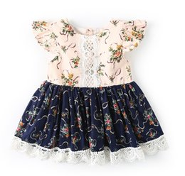 dfdb9afad12 Baby Girls Dress New Kids Fashion Vintage Print Flowers Lace Patchwork Dress  Summer Children Fly Sleeves Princess Dresses Clothing 2 Colors