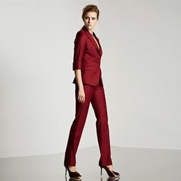 Overall Suits Australia - Customized new formal ladies suit for office ladies business custom wine red professional overalls (jacket + pants)