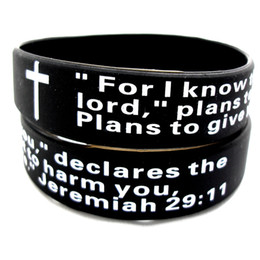 $enCountryForm.capitalKeyWord UK - Wholesale 25Pcs Jeremiah 2911 bible Prayer christian Black wristbands bracelets Verse Band Gifts present