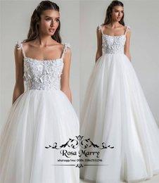 $enCountryForm.capitalKeyWord Australia - Plus Size Country Beach Wedding Dresses 2020 A Line 3D Floral Vintage Lace Hippie Style White Long Tulle Bridal Gowns Vestido De Novia